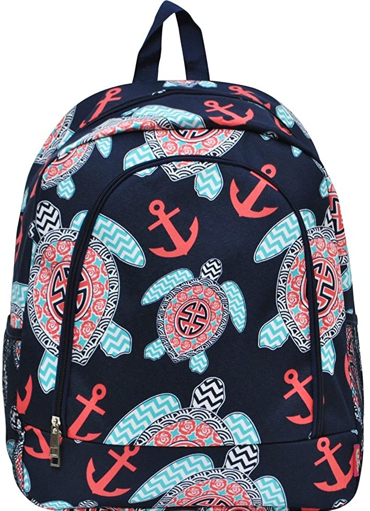 Sea Turtle Anchor Navy NGIL Large Canvas School Backpack