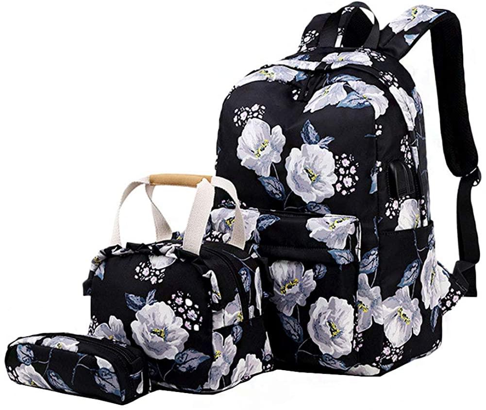 School Backpack Lightweight Teen Girls Kids Floral School Bags College Bookbag 3 in 1 Backpack Set