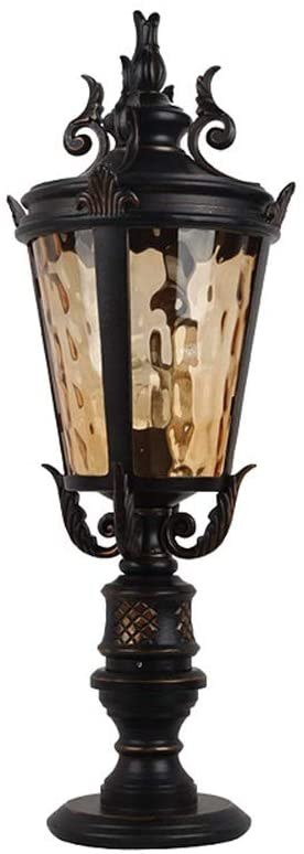 Wylolik Hickory Point Industrial Retro Edison Outdoor Light Fixture Black oversized 31 inch Column light Hammering Glass House Porch Patio Die-cast aluminum Waterproof IP65 park villa external Street