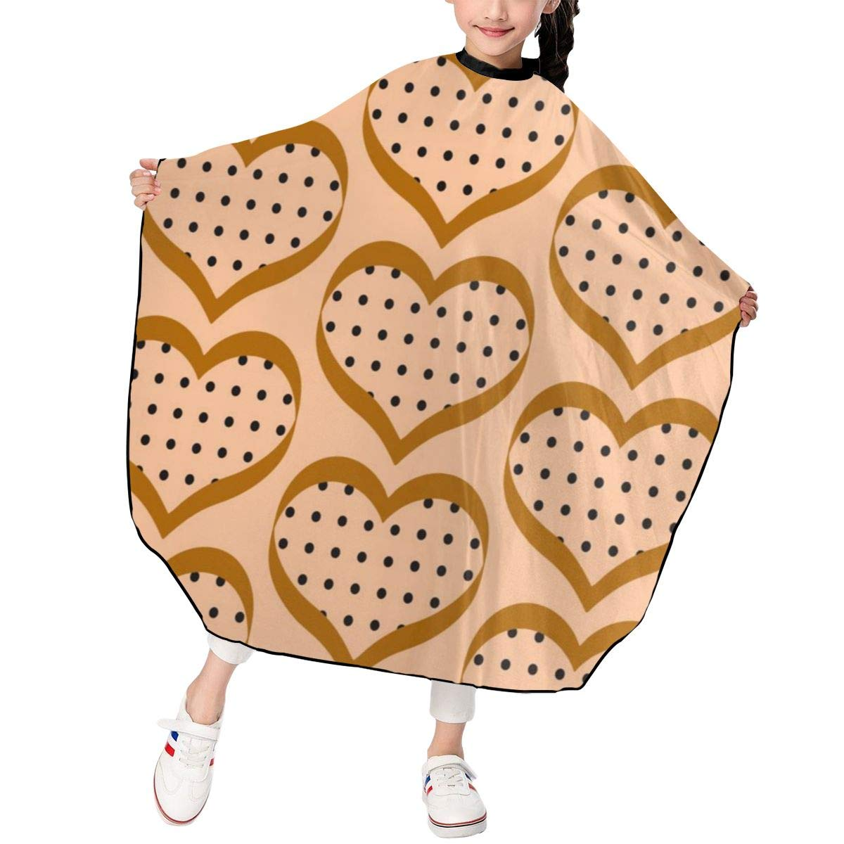 Barber Cape for Kids - Professional Hair Salon Cape with Adjustable Snap Closure Waterproof Hair Cutting Cape for Salon and Home 47 x 39 inches Funny Hearts