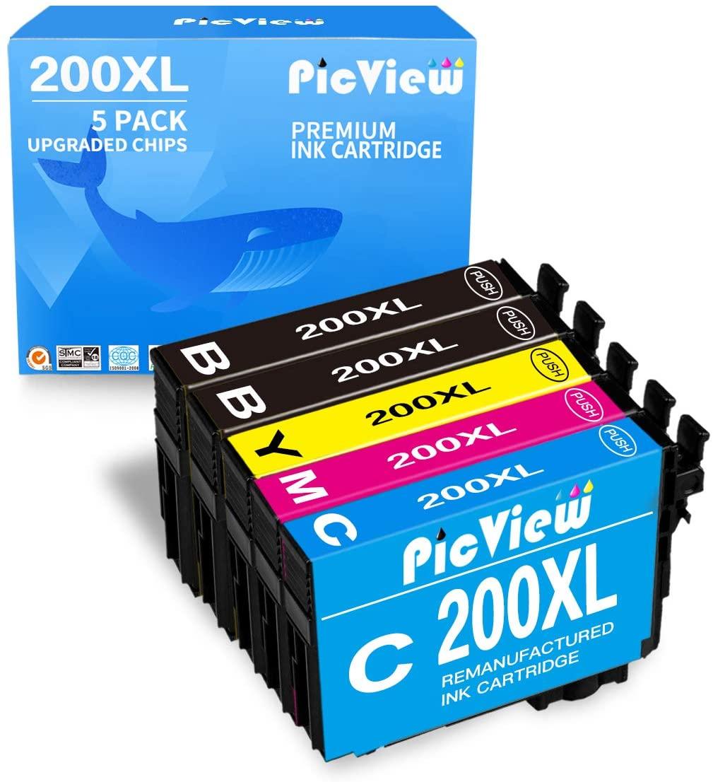 PicView Remanufactured Ink Cartridge Replacement for Epson 200XL 200 T200XL to use with XP-200 XP-310 XP-400 XP-410 WF-2520 WF-2540 WF-2530 (2 Black 1 Cyan 1 Magenta 1 Yellow, 5 Pack)