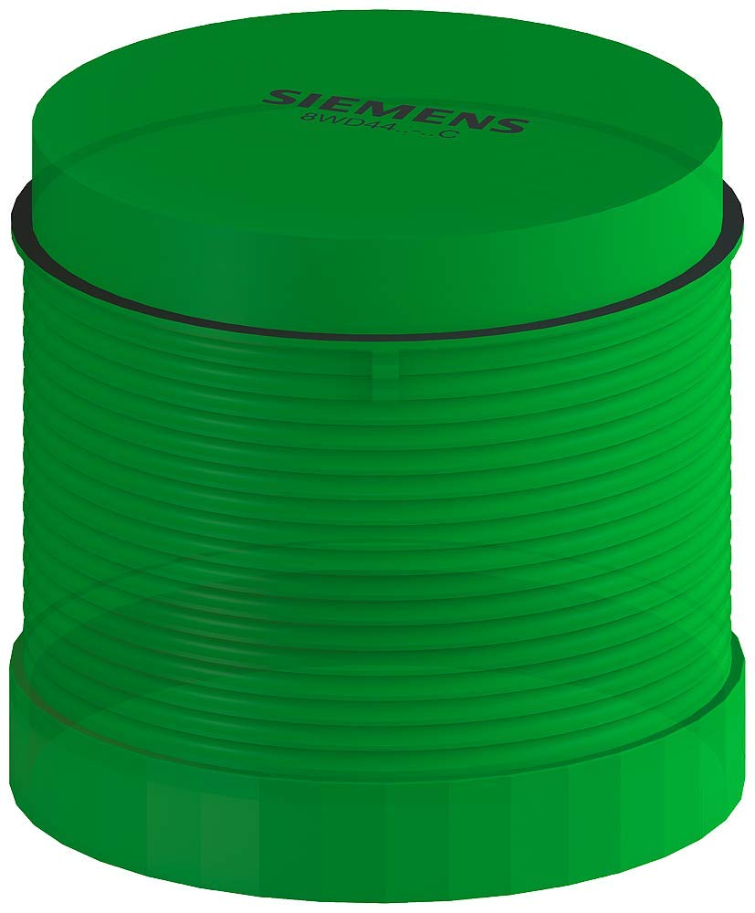 Siemens 8WD44 20-0CC Sirius Signal Column, Thermoplastic Enclosure, IP65 Protection, 70mm Diameter, Single Flash Light Element, Green, UC 24V Voltage