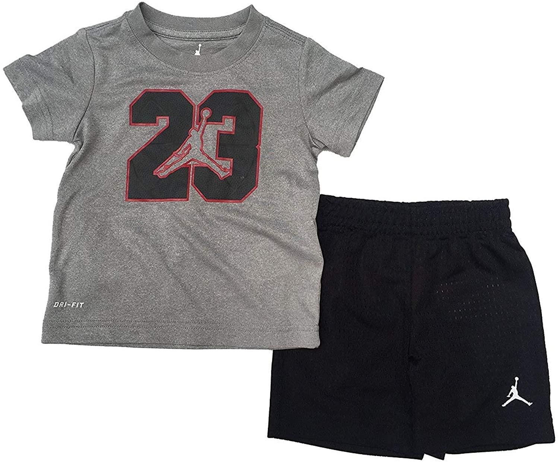 Jordan Jumpman 23 Logo Little Boys Tee Shirt and Shorts Set Red/Wolf Grey