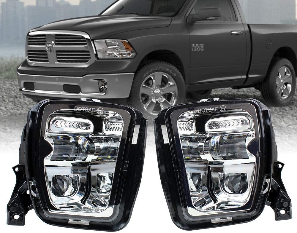 KUQIQI Led Fog Light for Dodge Ram 1500 2013 2014 2015 2016 2017 2018 Pickup Clear Bumper Passing Lamps Fog lamp (Not Applicable RAM 2500/3500) (Silver)