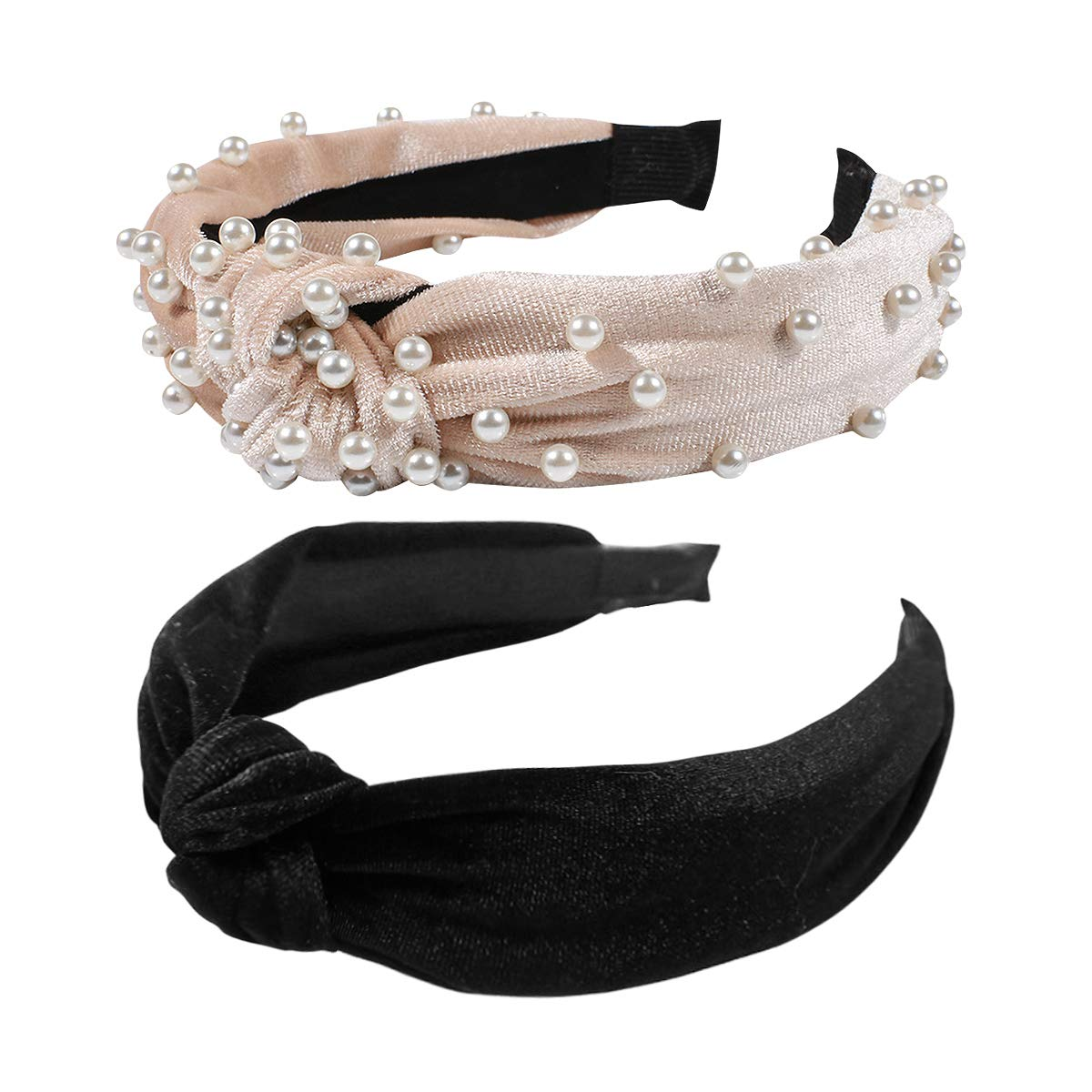 2Pcs Headbands for Women, BEBEEPOOPearl Headbands with Velvet Knotted Wide Headbands, Faux Pearl Elastic Hair Hoops Fashion Vintage Styling Hair Accessories