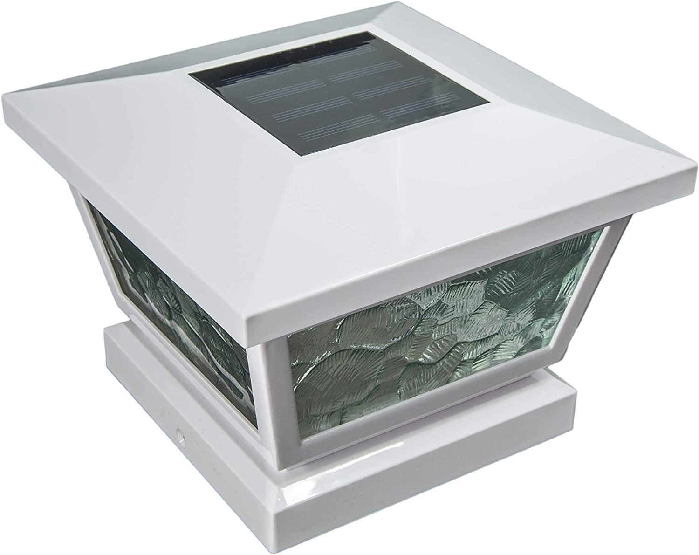 Classy Caps FS100W 5X5/4X4/3.5X3.5 White Fairmont Solar Post Cap, 5
