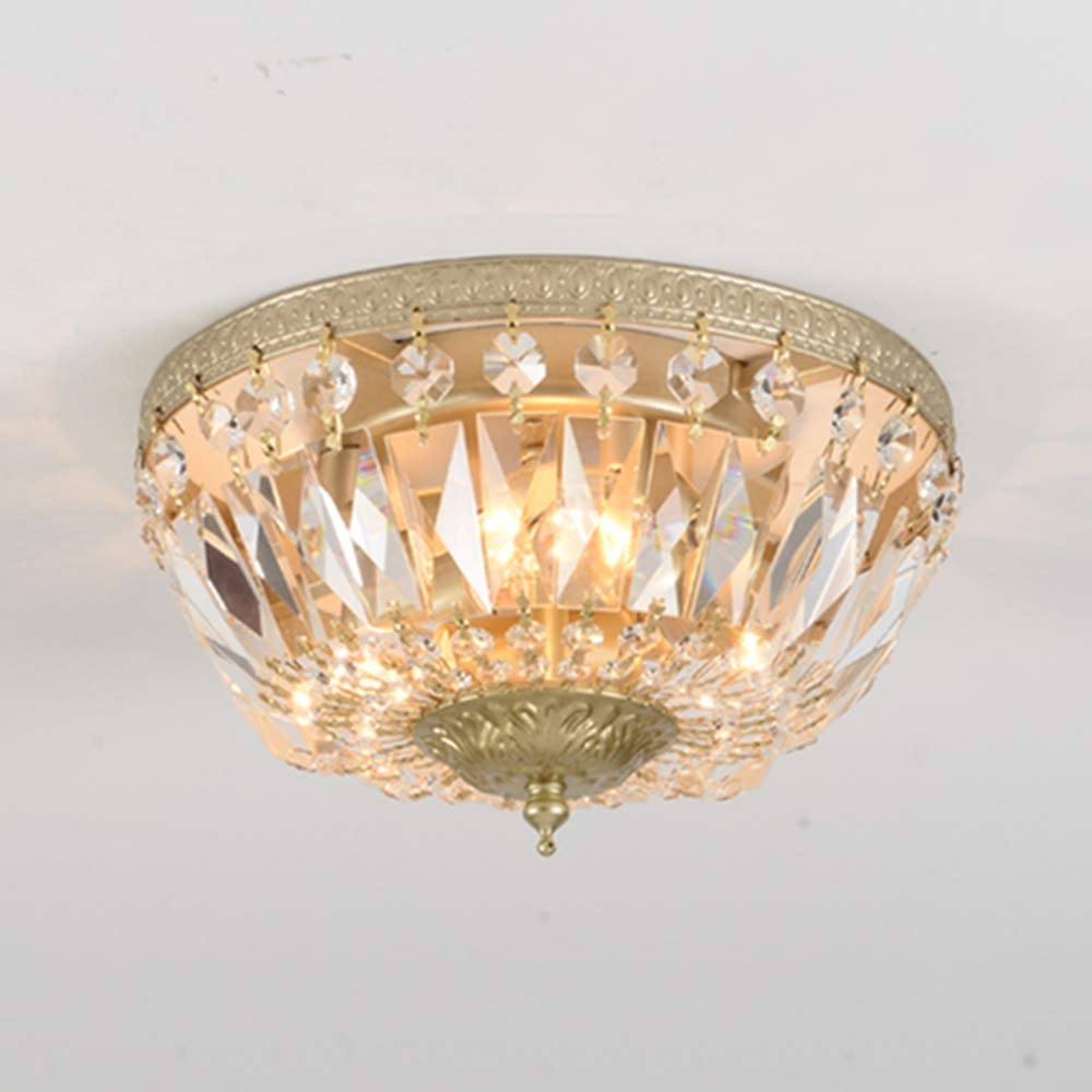 BAYCHEER Round Shaped Clear Crystal Ceiling Lghting Ftures with 3 Lghts Retro Art Dcoration Flush Mount Ceiling Light for Hallway Dining Living Room Kitchen Boudoir 9.84inch(Champagne Gold)