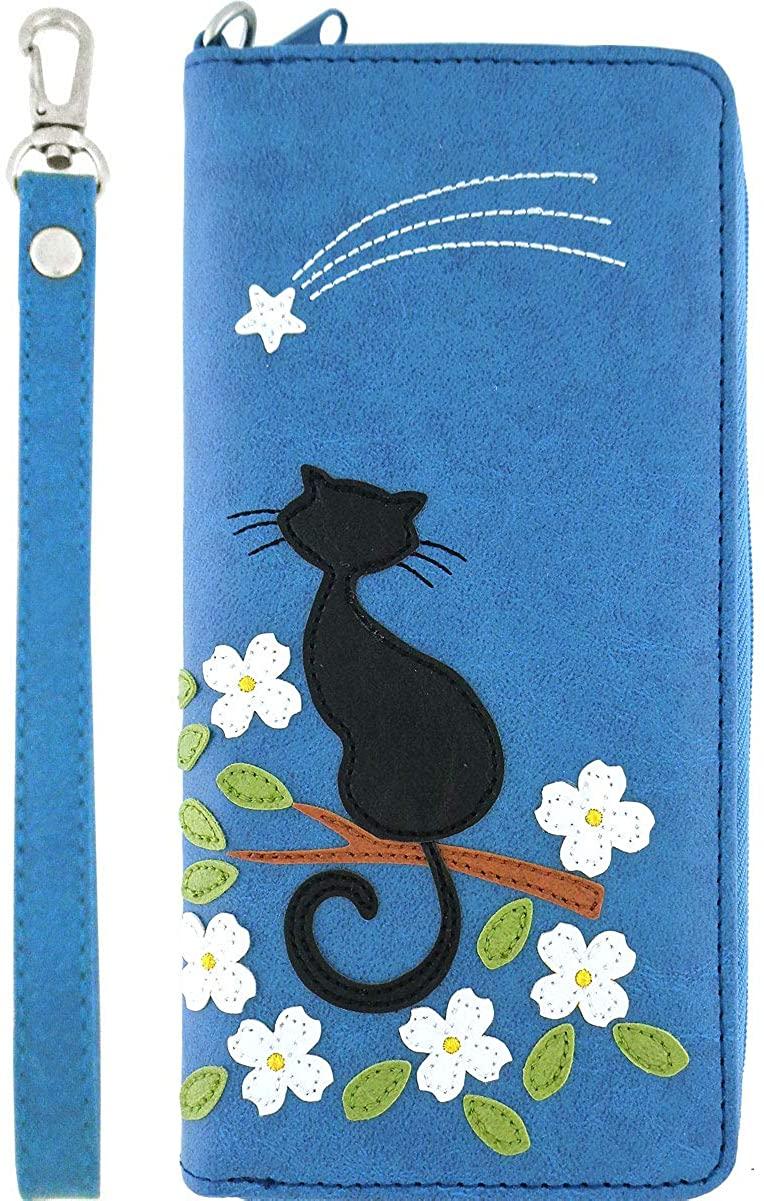 LAVISHY Cat Under A Shooting Star Applique Vegan/Faux Leather Large Wristlet Wallet