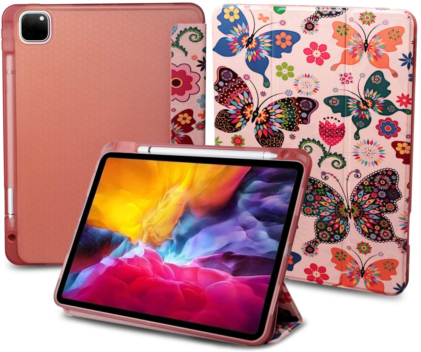 iPad Pro 11 Case 2020 & 2018 with Stand and Pencil Holder - [Full Body Protection + Apple Pencil Charging + Auto Wake], Soft TPU Back Cover for 2020 iPad Pro 11 inch(Butterfly+Gold)