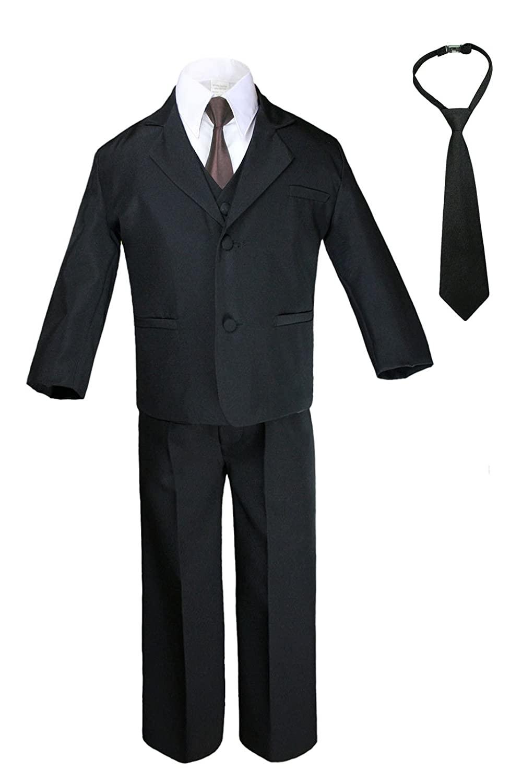 Baby Toddler Teen Boys Black 6pc Suits Vest Sets Extra Satin Brown Necktie S-20 (20)