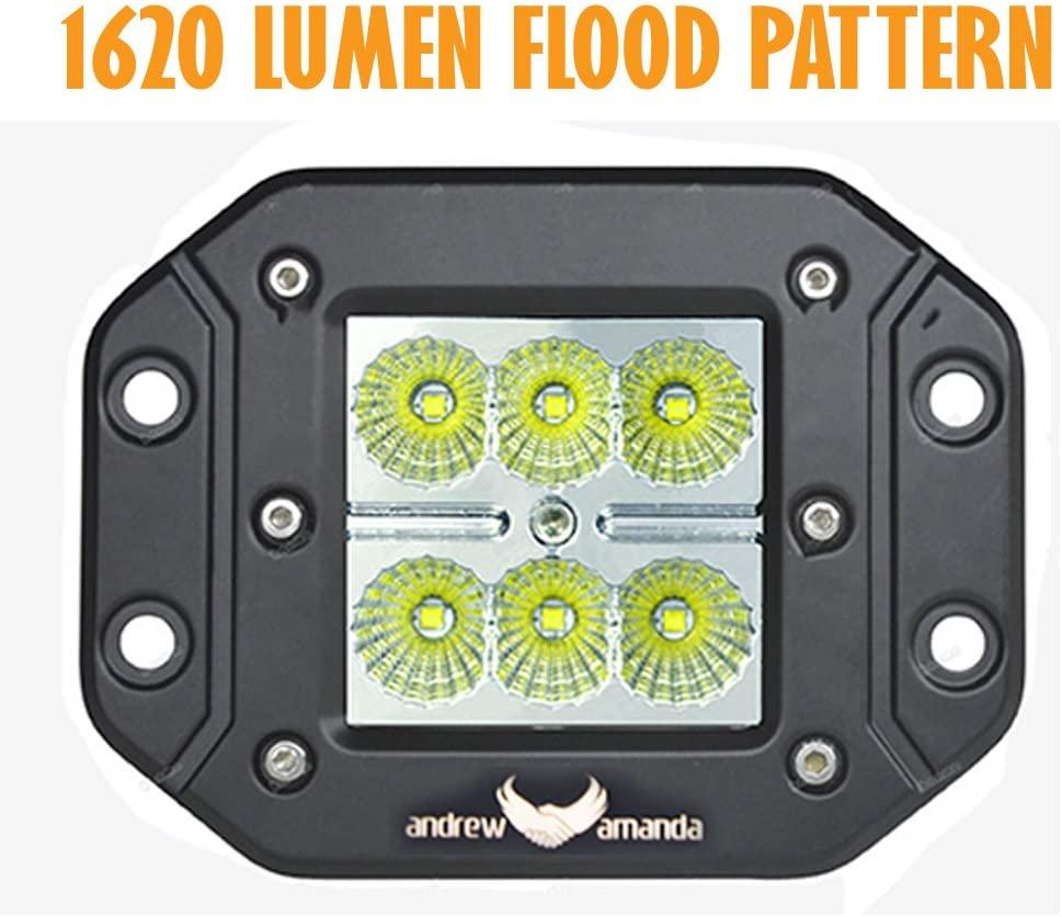 18w Square LED Work/Driving Light - Flush Mount - Flood Pattern