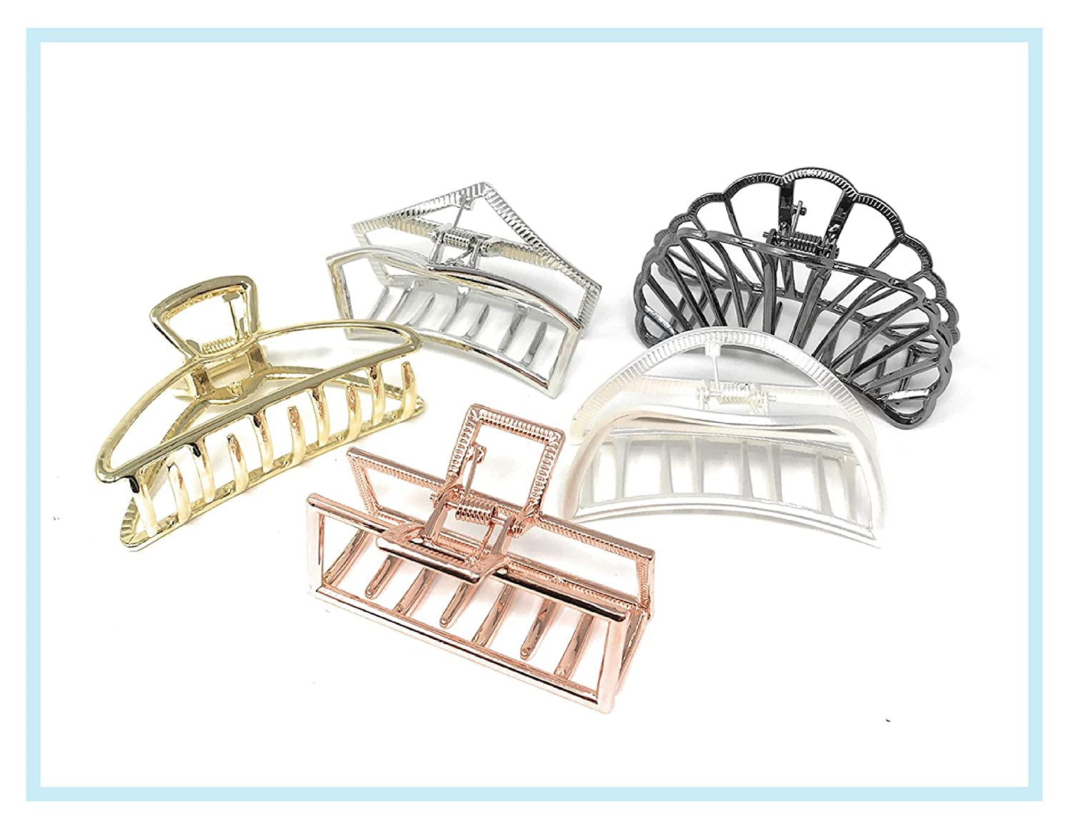 Curlee 5 Pieces Large Metal Hair Claw Clip Jaw Clamp for Women Half Bun 3 Inches Wide (1)