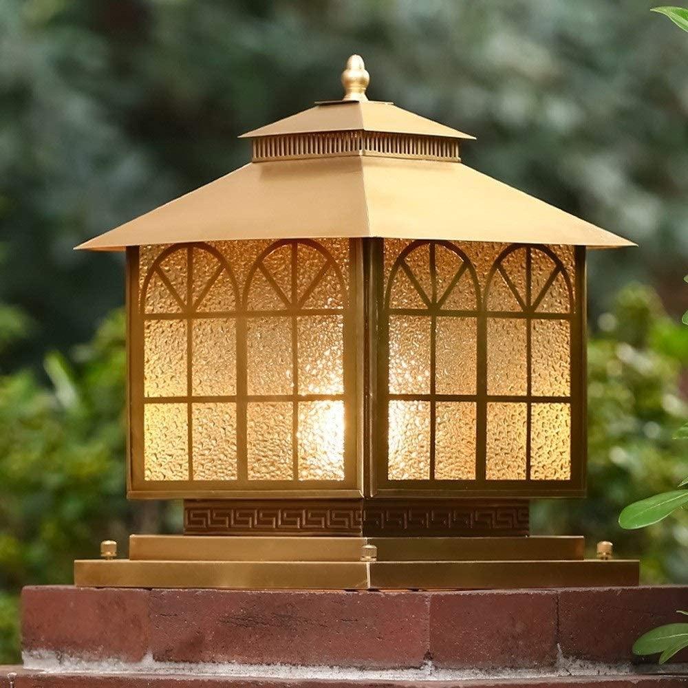 WHYA European Luxury Vintage Gold Villa Door Post IP65 Waterproof Column Lamp Traditional Victoria Exterior Lanterns E27 Rainproof Bollard Light Patio Lighting Garden Landscape Streetlights