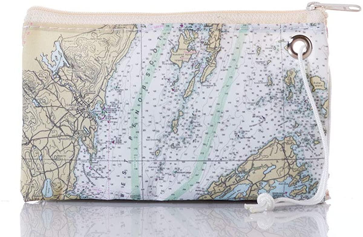 Sea Bags Recycled Sail Penobscot Bay Nautical Chart Wristlet