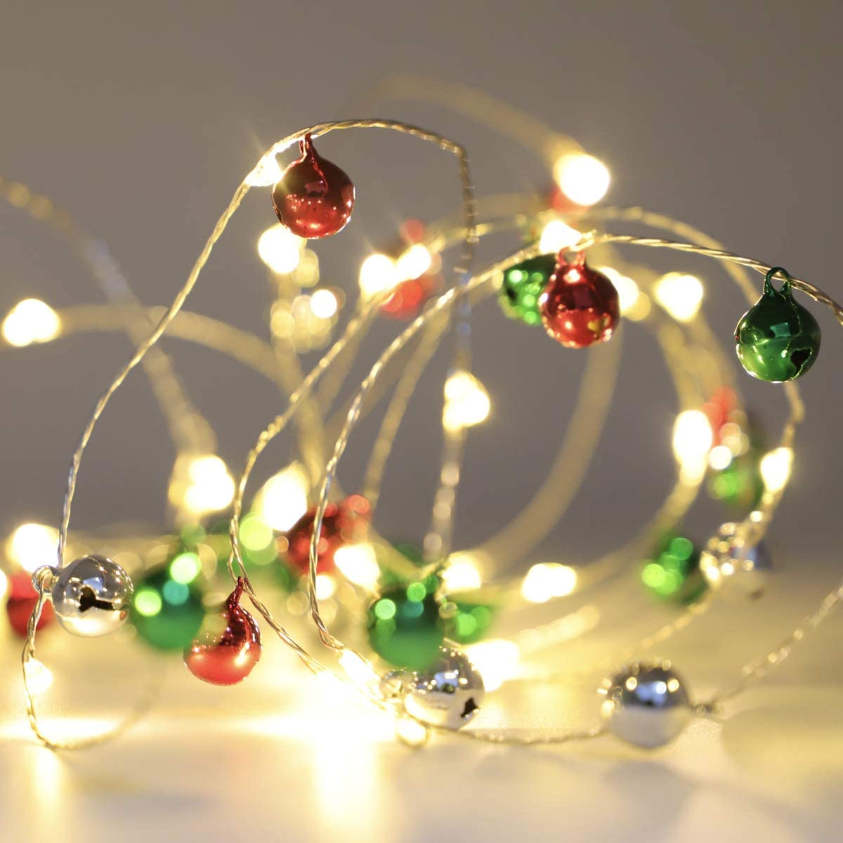 Jingle Bell String Light 10ft 60 LEDs Christmas Lights Battery Operated Fairy Lights with Remote Control for Christmas Valentine's Day Party Wedding Indoor Outdoor Gardens Bedroom Home Mantel Decor