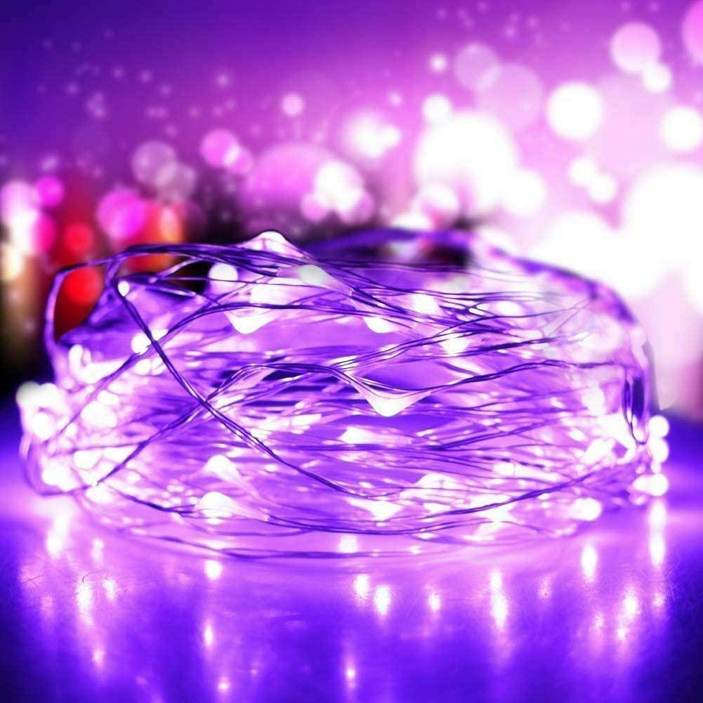 1SET Purple Light 10M 100LED Copper Wire String Lights Waterproof Fairy Outdoor Garden Decor AA Battery