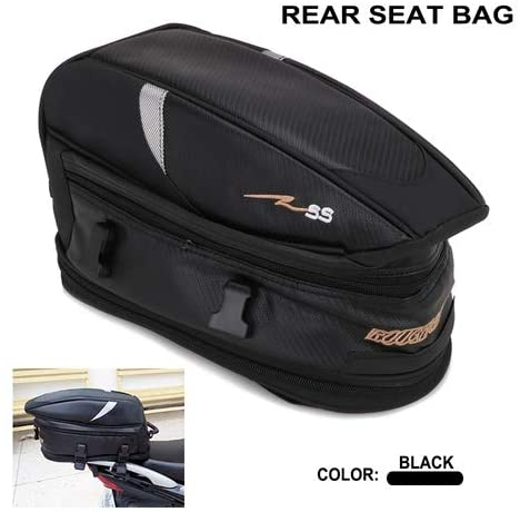 Motorcycle Rear Tail Seat Bag Package Back Carry Shoulder Bag with Rain Cover Waterproof Body & Frame Tank Bag & Saddlebags - 1 x Rear Seat Bag + 1 x Rain Cover + 2 x Buckle Strap + 1 x Carrying Strap