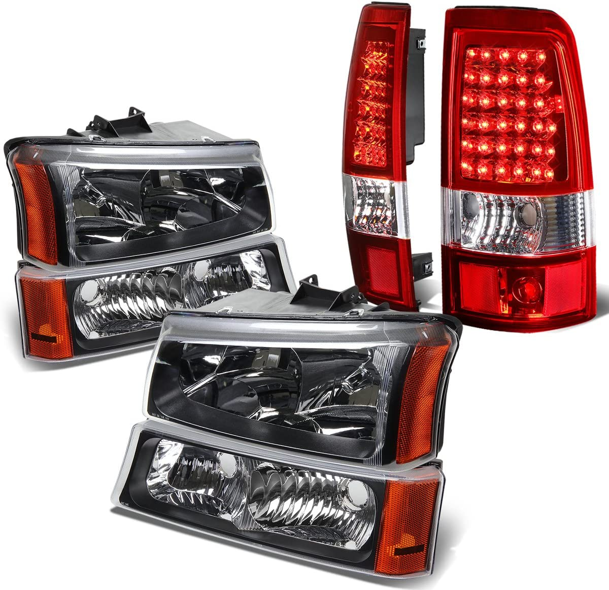 Replacement for Chevy Silverado 1st Gen 4pc Pair of Black Amber Corner Headlight + Chrome Red Lens LED Tail Light