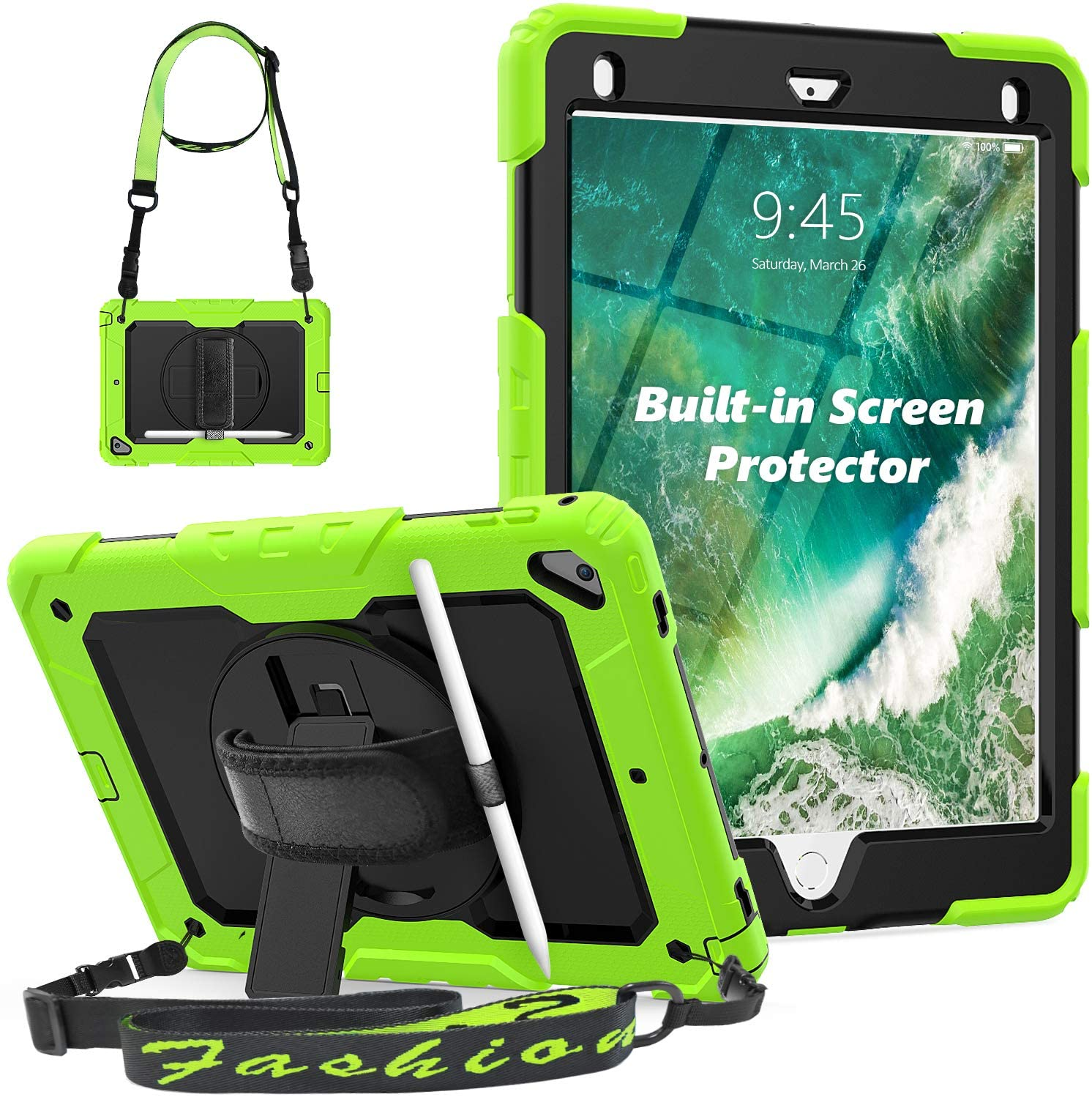 iPad Air 2 Case, iPad 6th/5th Generation Case, HXCASEAC [Sturdy] Shockproof Case with 360 Rotating Stand, Screen Protector, Stylus Holder, Shoulder Strap, Hand Strap for iPad A1822, A1566, A1893-Green
