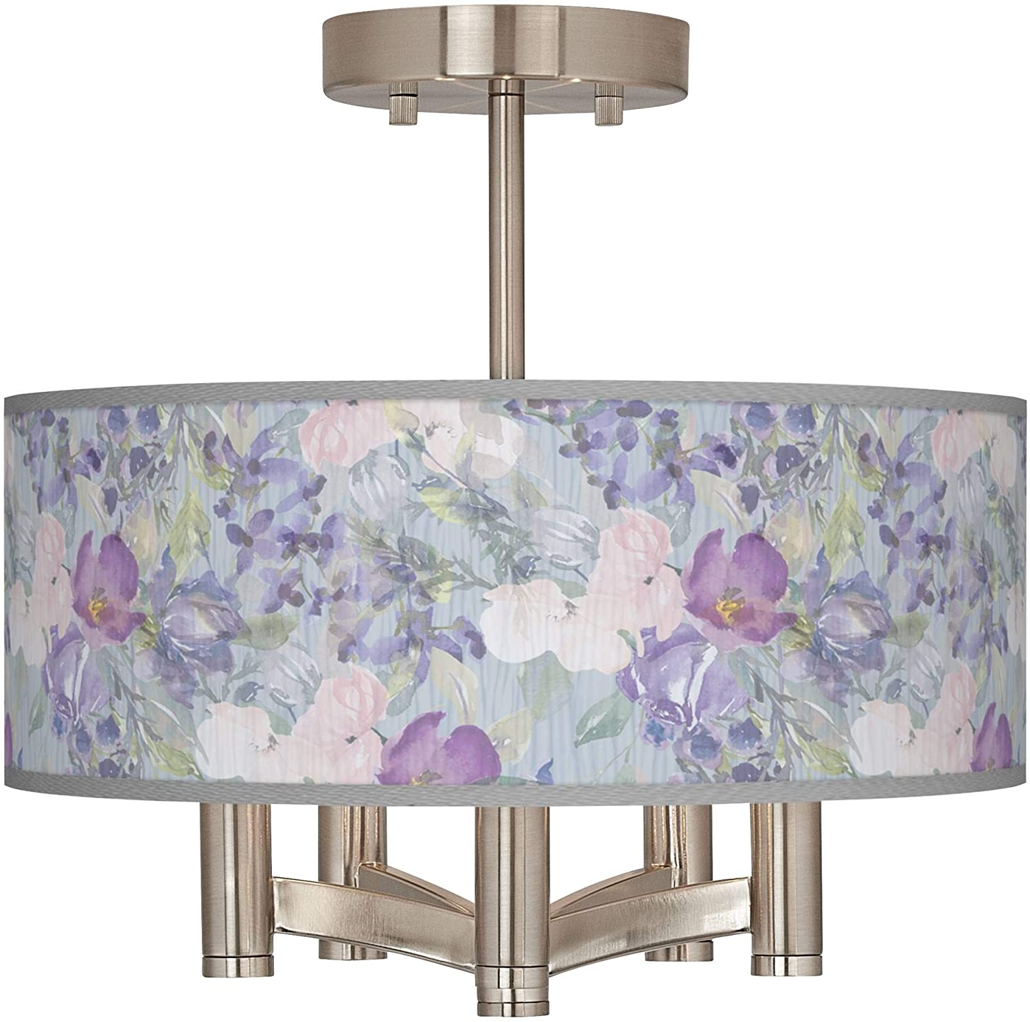 Spring Flowers Ava 5-Light Nickel Ceiling Light - Giclee Glow