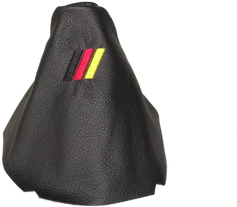 The Tuning-Shop Ltd Gear Gaiter Black Leather Mpower German Colours Logo Embroidery