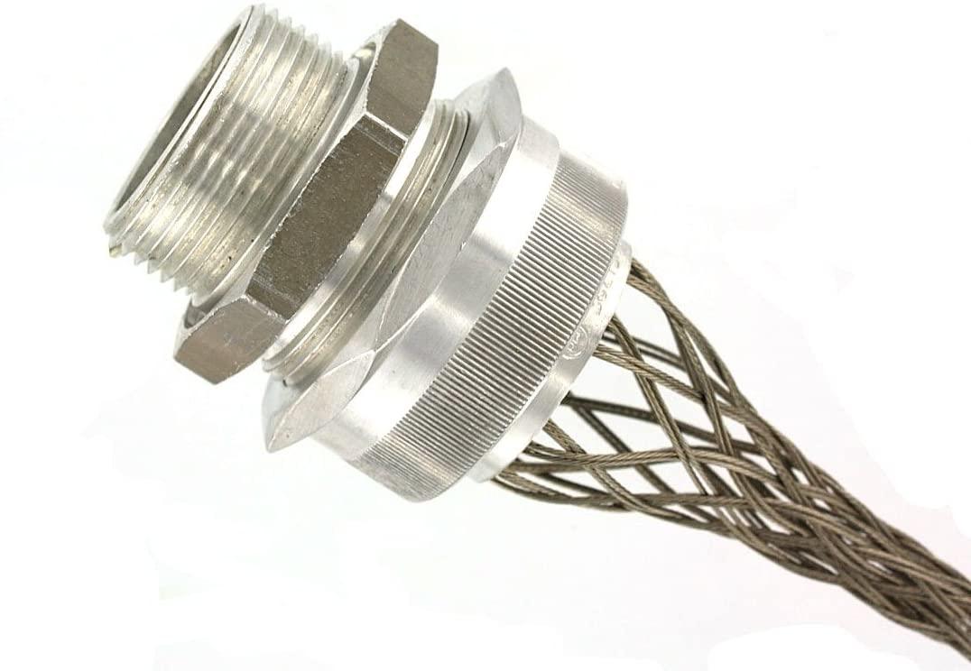 Leviton L7734 2-Inch, Straight, Male, Aluminum Body, Deluxe Cord Sealing Strain-Relief, 1.250, 1.375 Cord Range