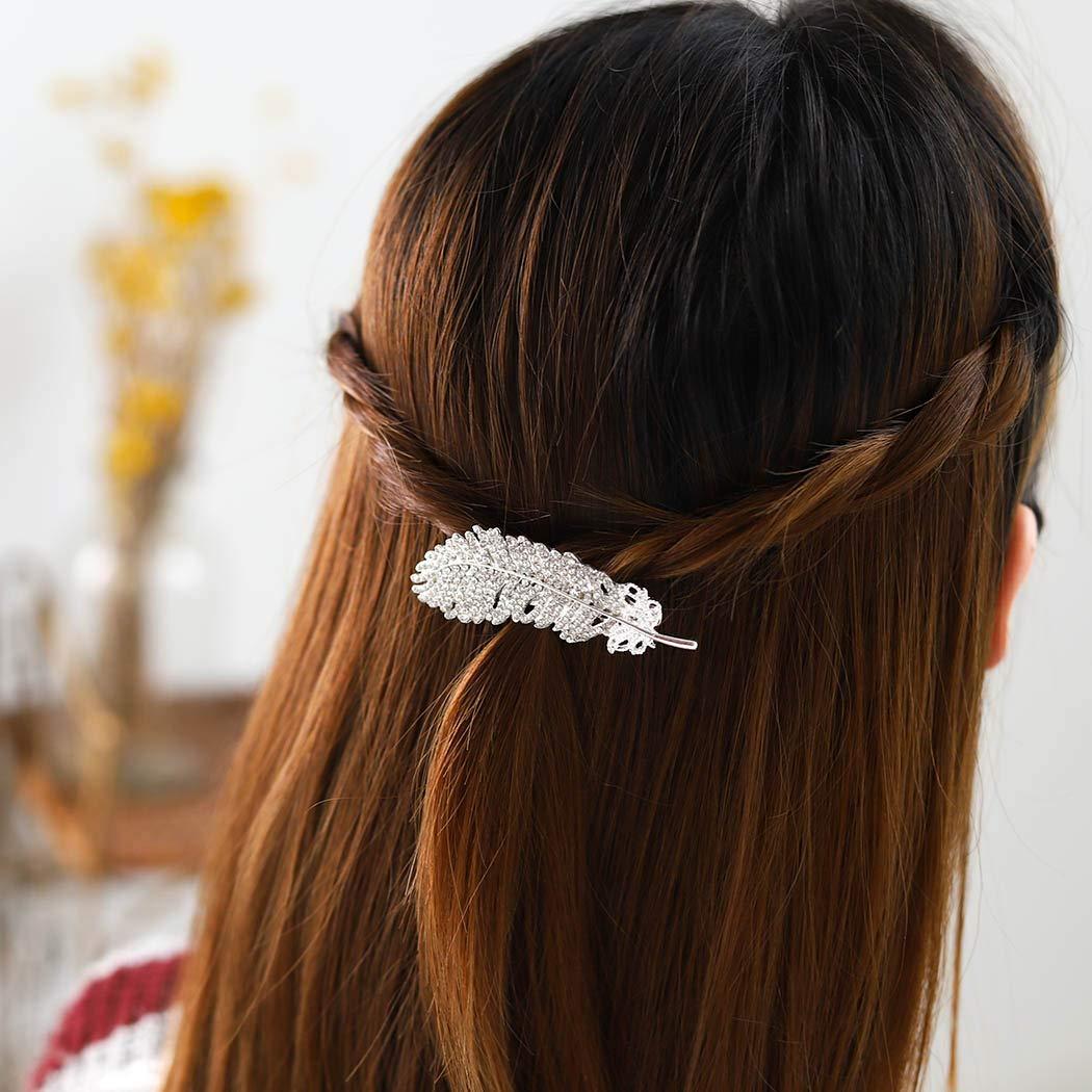Bartosi Crystal Hair Clips Leaf Hair Barrettes Hair Accesories for Women and Girls (Silver)