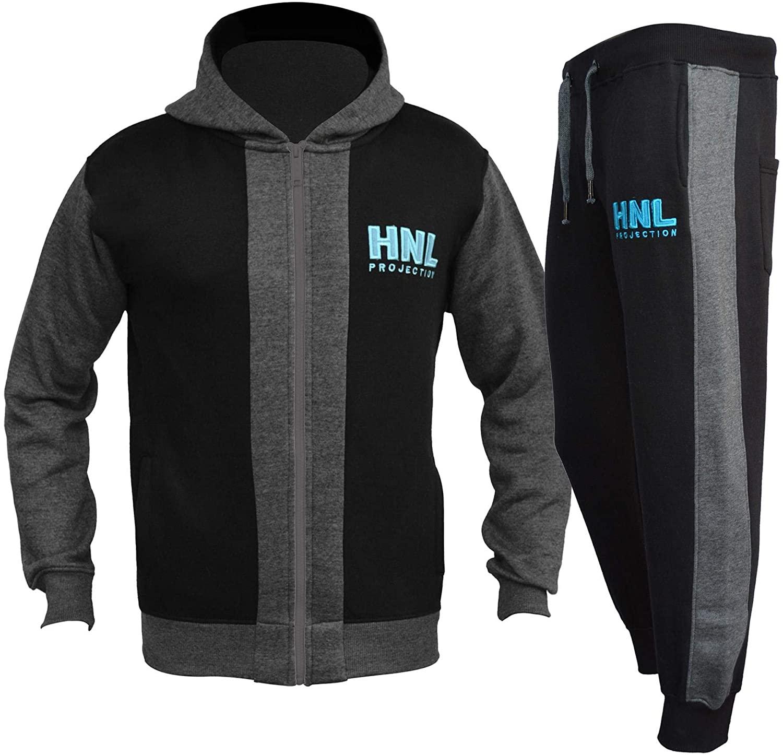 Kids Boys Girls HNL Projection Tracksuit Black Zipped Top Bottom Jogging Suits
