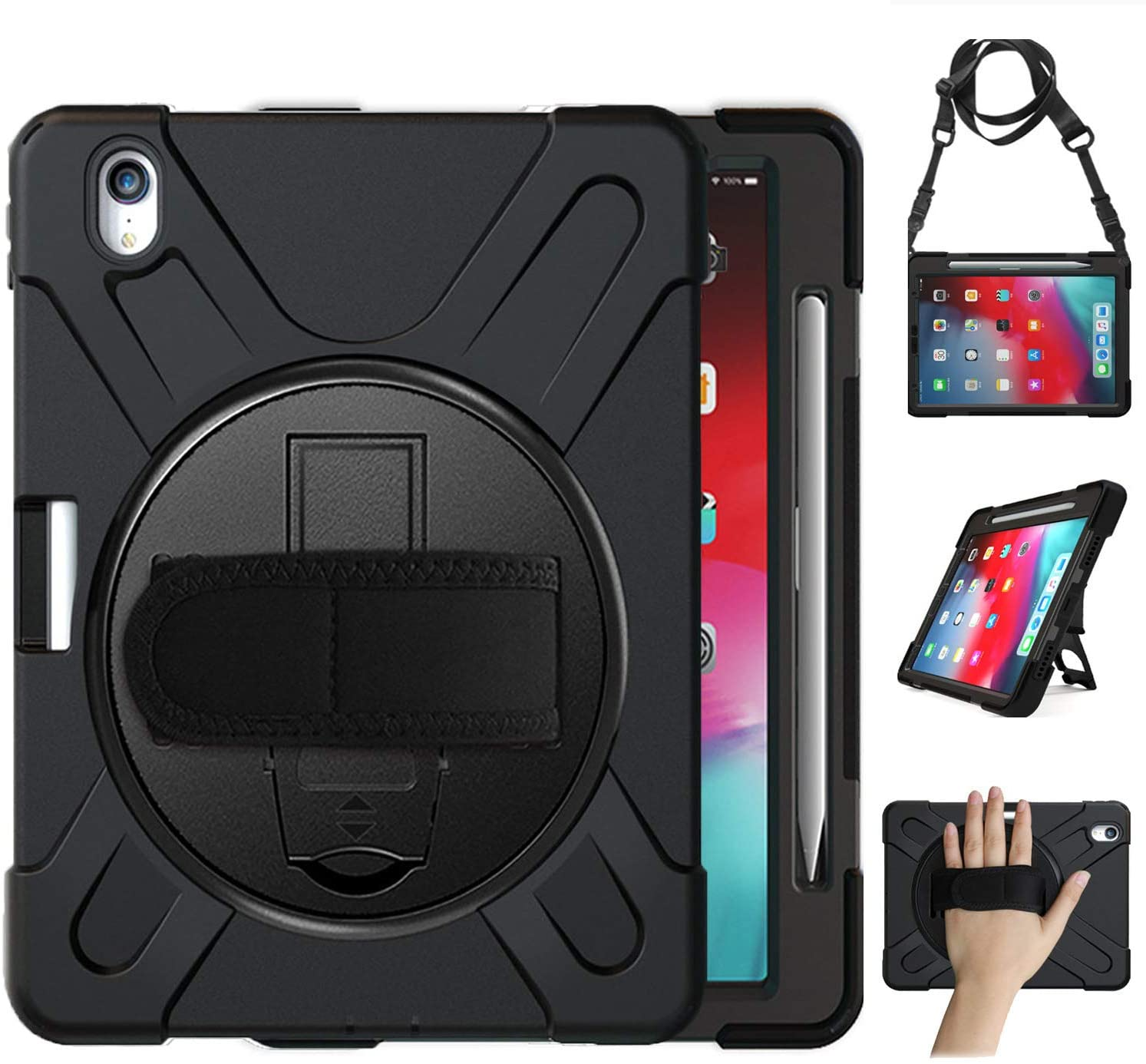 iPad Pro 11 Case 2018 with Pencil Holder, [Support iPad Pencil Charging] Herize Shockproof Rugged Protection Case Cover with Stand/Hand Strap/Shoulder Strap for iPad Pro 11 Inch 2018 – Black