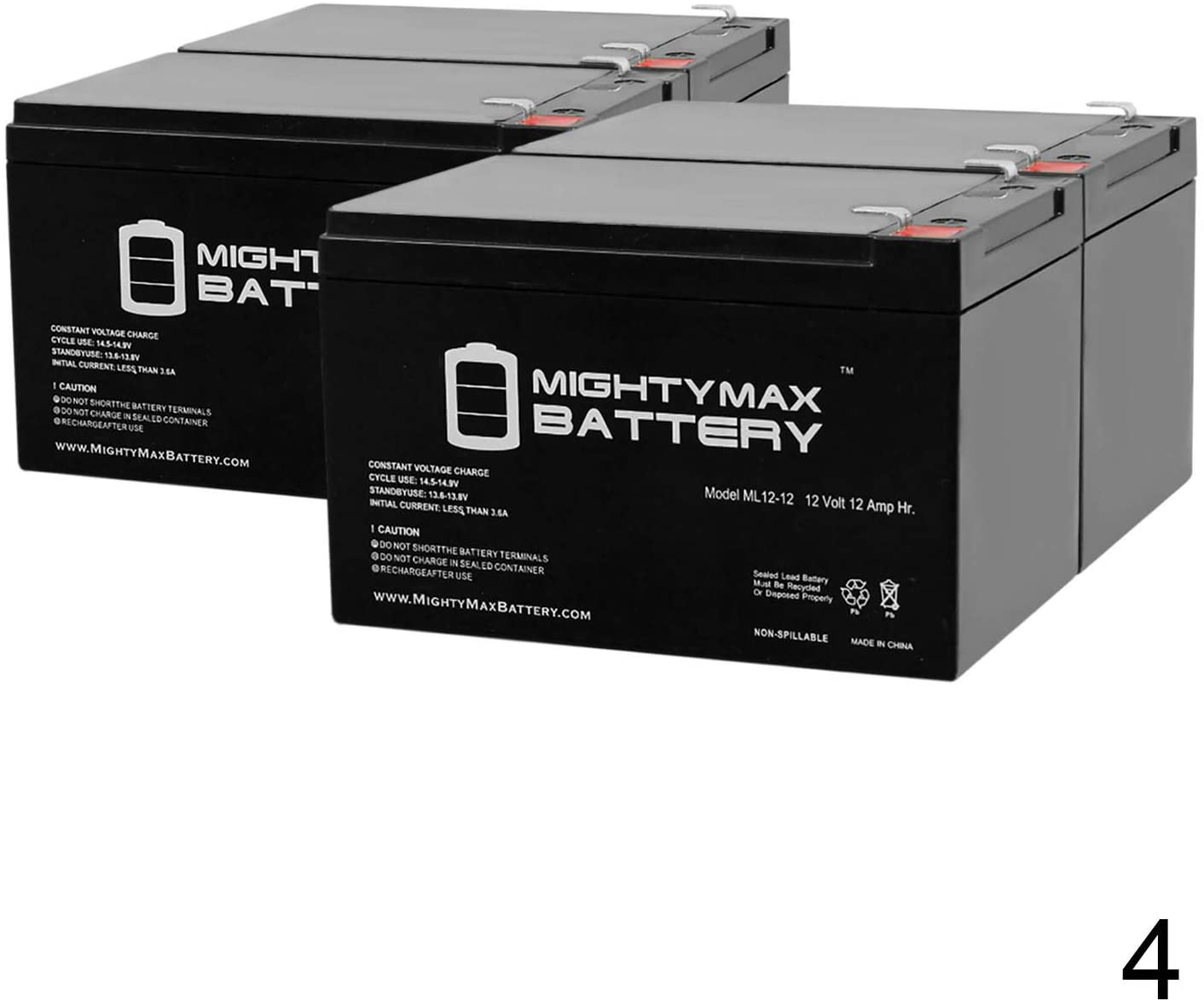 Mighty Max Battery 12V 12Ah F2 UPS Battery for Power Patrol Sla1105-4 Pack Brand Product