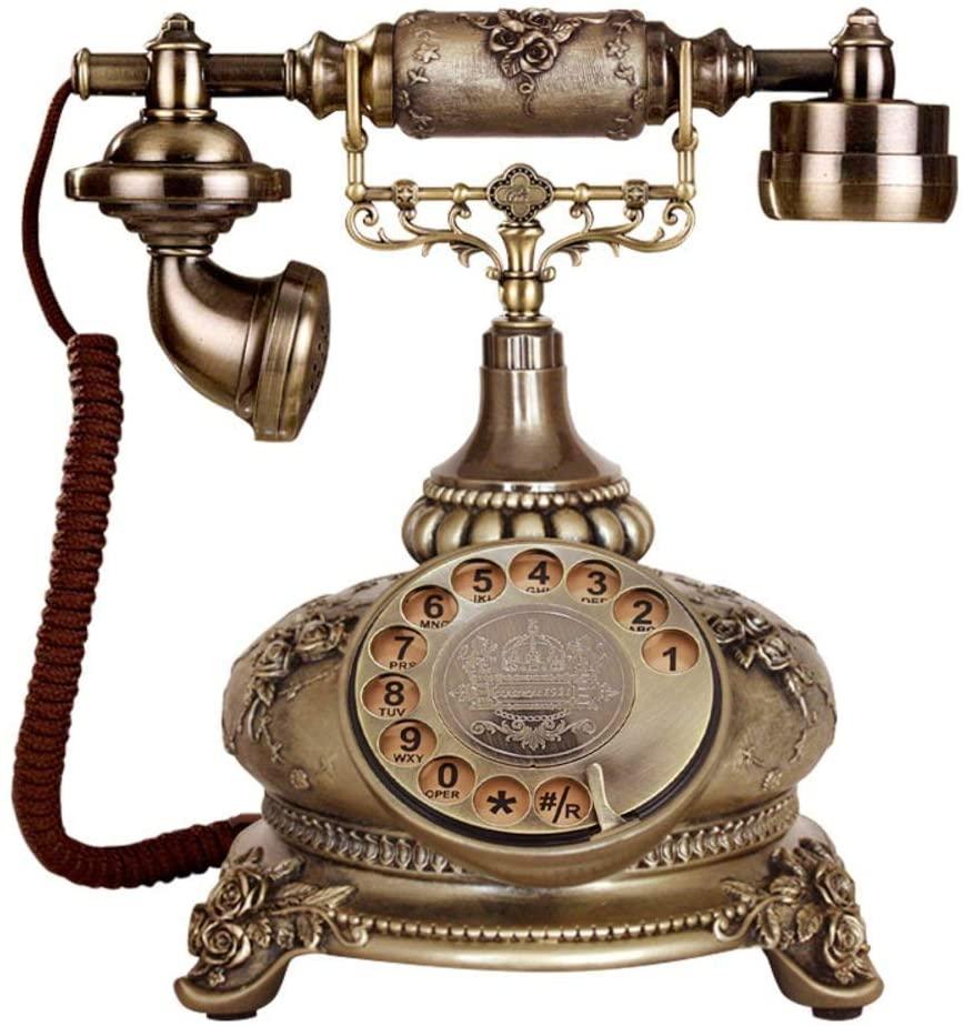 LKK-KK Old European Telephone Antique Solid Wood Telephone Home User Creative Telephone Classic-A 20x24x26cm (8x9x10inch)