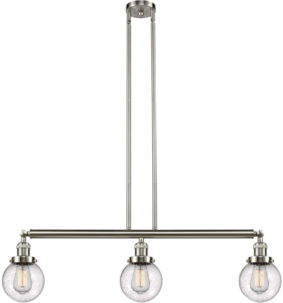 Innovations 213-SN-S-G204-6-LED 3 Vintage Dimmable LED Adjustable Island Light, Brushed Satin Nickel