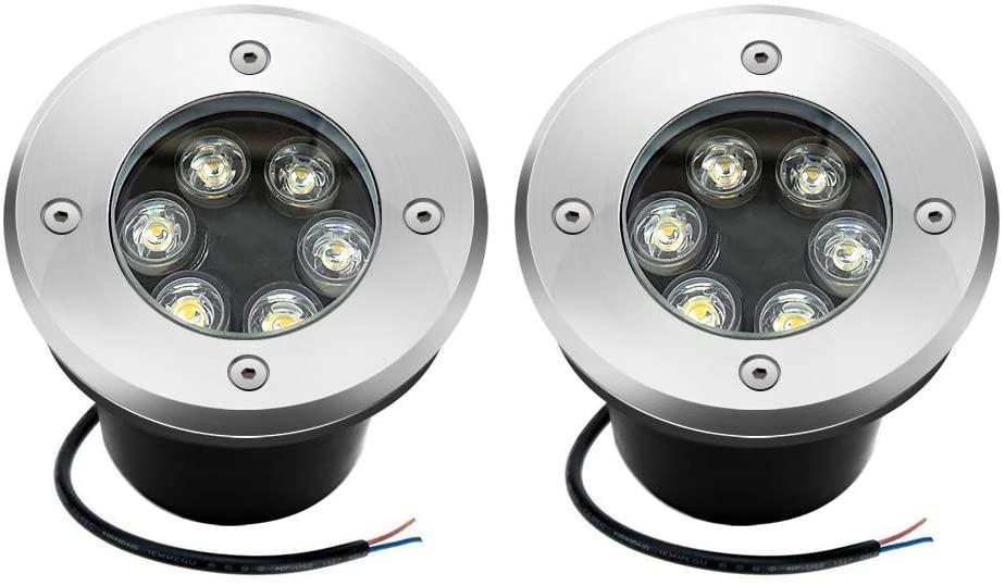 6W LED Landscape Lights, Sunriver 6W High Bright Low Voltage Landscape Well Lights IP67 Waterproof Shock Resistant with 12V 24V Transformer for Yard Driveway Deck Square Lighting