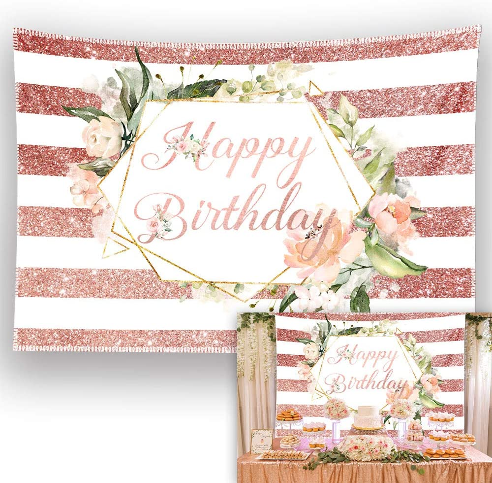 Allenjoy 7x5ft Durable Fabric Rose Gold Floral Birthday Backdrop Pink Flower Stripes Photography Background Sweet 16 21th 30th 40th 50th Girl Women Party Supplies Decoration Banner Photo Booth