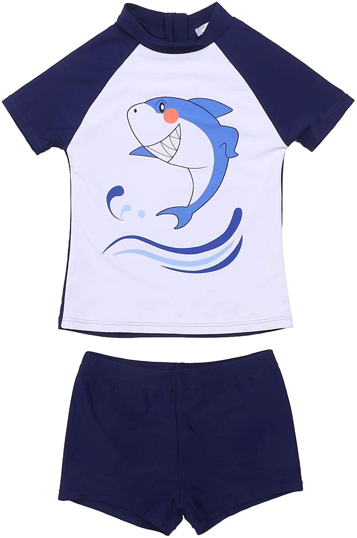 Ekouaer Swimsuits for Teen Boys' 2-Piece Short Sleeve 5-16 Years Kids Swimwear Rash Guard Trunk Set