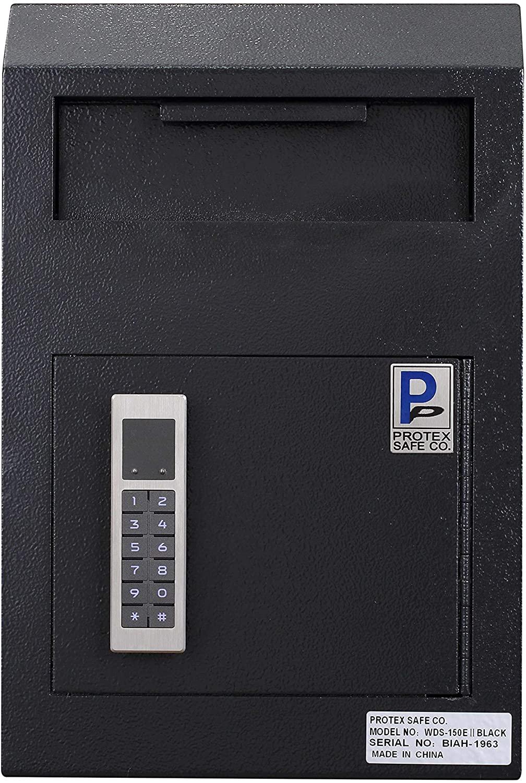 Protex Electronic Wall-Mount Locking Bulky Items Drop Box (WDS-150E II) Black