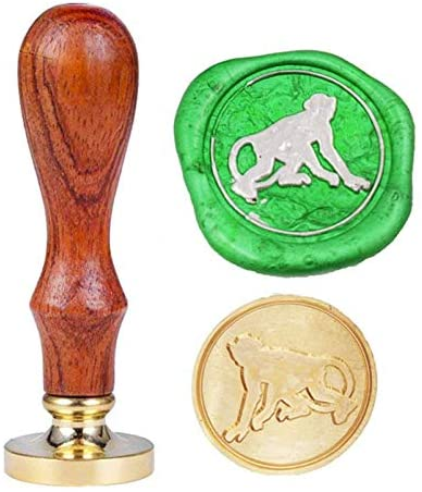 Monkey Wax Seal Stamp, YGHM Brass Head and Rosewood Handle,Vintage Personalized Custom
