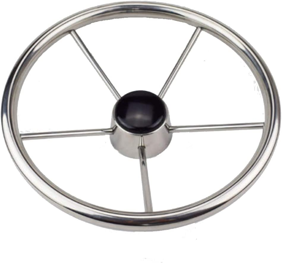 Boat Car Steering Wheel Polished 5 Spoke Marine Yacht Diameter 13-1/2