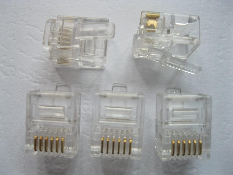 500 pcs Modular Plug Telephone Connector 6P6C Water Clear