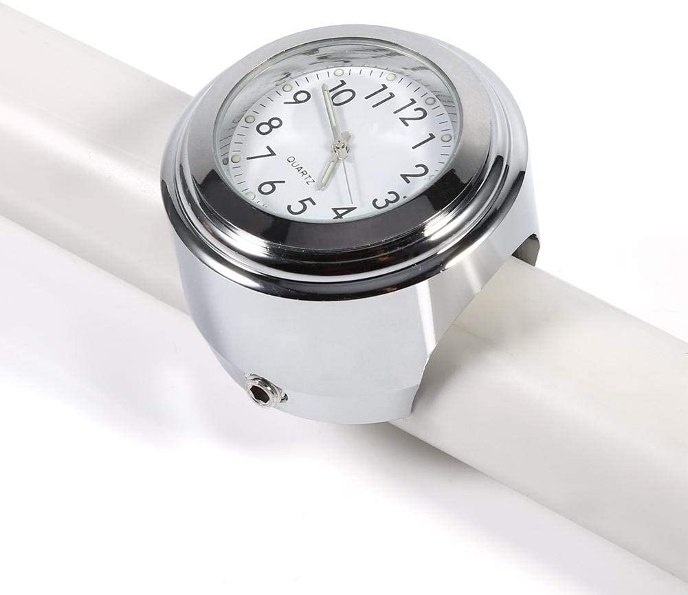 Motorcycle Handlebar Mount Watch Precise Time Keeping Dial Clock, Chrome Plated Precise Split Ring Mount