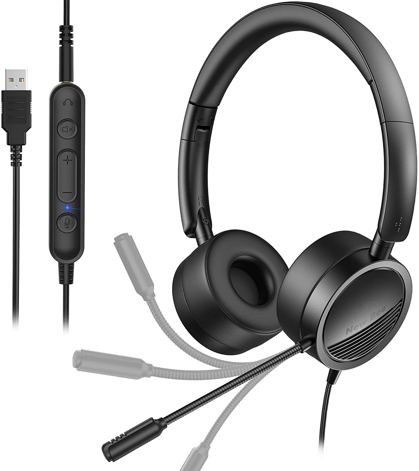 USB Headset New bee Office Computer Headset with Noise Cancelling Mic & in-Line Call Controls On-Ear 3.5mm Jack Call Center Headset for Skype, Zoom, Webinar, Cell Phone, PC, Tablet, Classroom, Home