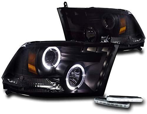 ZMAUTOPARTS 2009-2017 Dodge Ram 1500/2010-2017 2500/3500 DRL LED Halo Projector Headlights Black/Smoke with 6