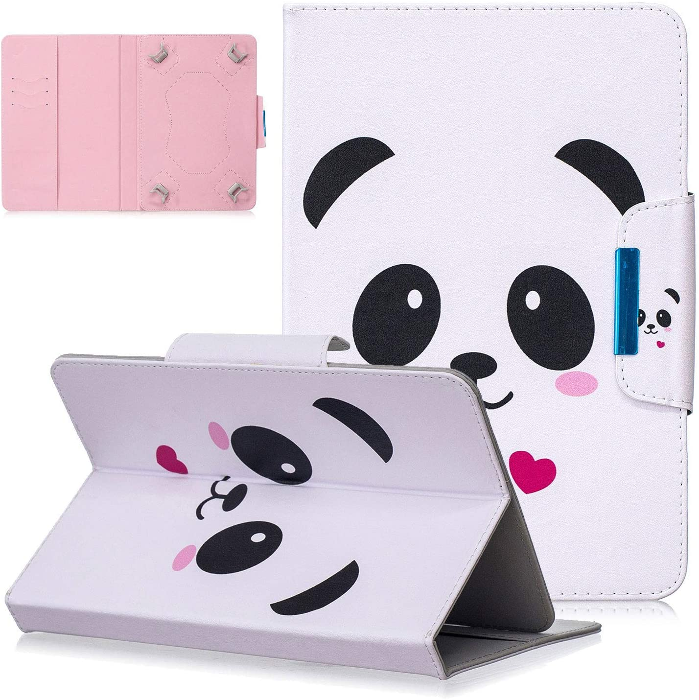 UGOcase 8.0 inch Universal Case, PU Leather Folio Protective Stand Cover with Wallet Casefor All 7.5-8.5 inch 7.5-8.5 inch iPad Mini, Samsung Galaxy Tab A 8.0, DHgate Fire HD 8, Love Panda