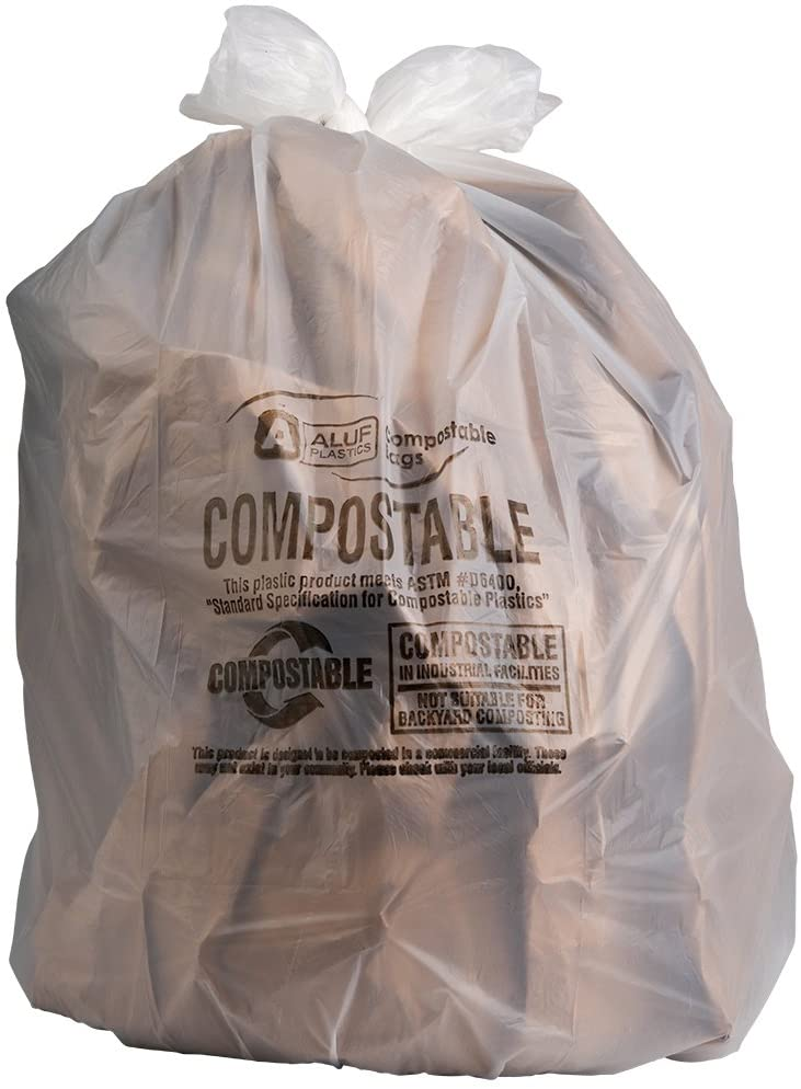 """Plasticplace 40-45 Gallon Compostable Trash Bags │ 0.85 Mil │ Clear Garbage Can Liners │ 33"""" x 48"""" (50 Count)"""