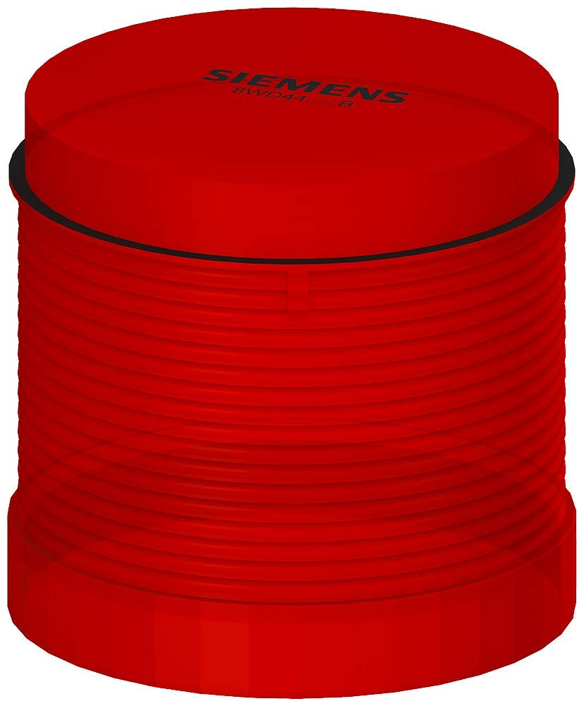 Siemens 8WD44 20-5AB Sirius Signal Column, Thermoplastic Enclosure, IP65 Protection, 70mm Diameter, Steady Light LED Element, Red, UC 24V Voltage