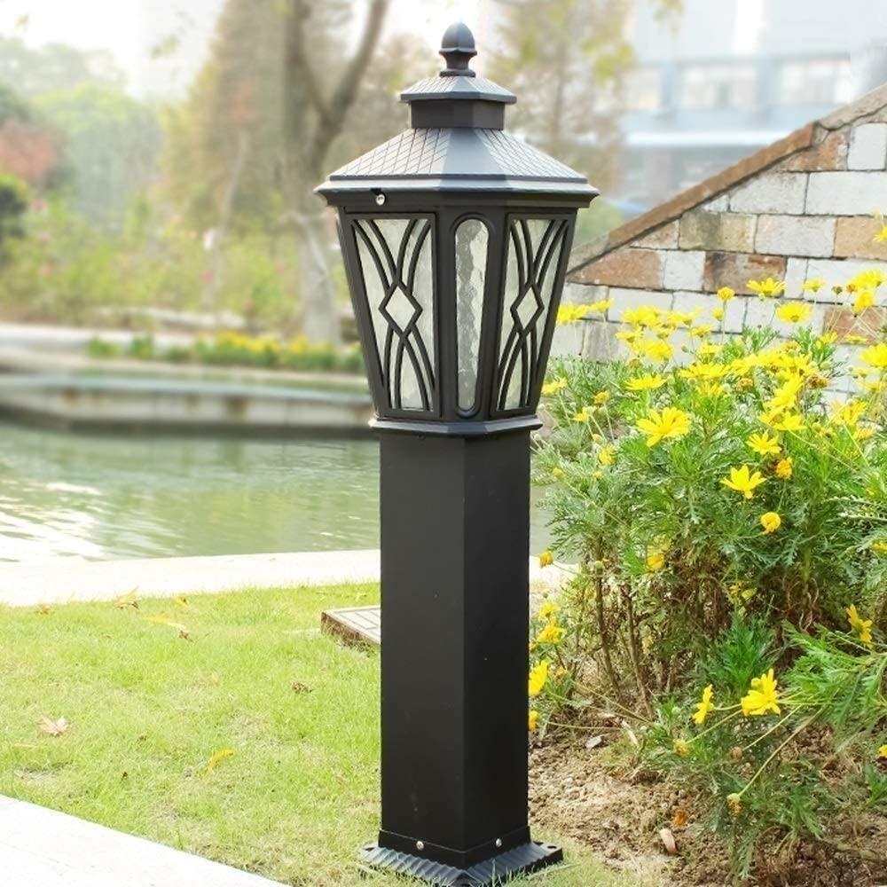 WHYA 78ccm IP55 Waterproof Vintage Outdoor Post Bollard Light E27 Rainproof Glass Street Lantern Classical Retro Aluminum Metal Column Lamps Villa Garden Lawn Landscape Lighting