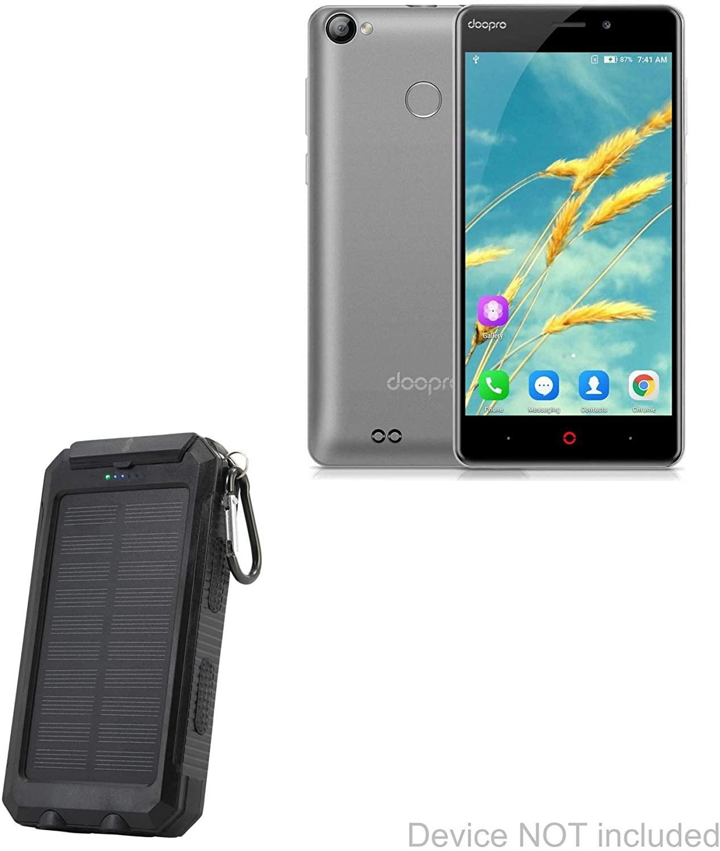 Doopro P1 Pro Battery, BoxWave [Solar Rejuva PowerPack (6000mAh)] Solar Powered Backup Power Bank for Doopro P1 Pro - Jet Black