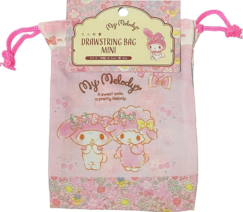 Sanrio My Melody Purse Drawstring Bag Mini polyester 14 × 18.5cm (Flutter Ribbon)