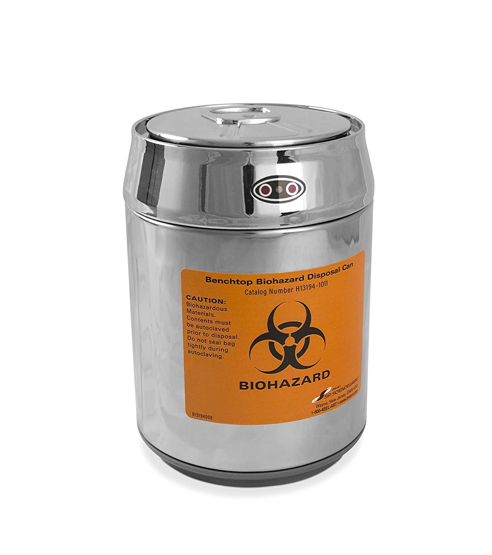 SP Scienceware Bel-Art H13194-1011 Benchtop Biohazard Disposal Can with Motion Sensor Lid; 1.5L Capacity, Stainless Steel, Chrome Lid, Polypropylene Liner