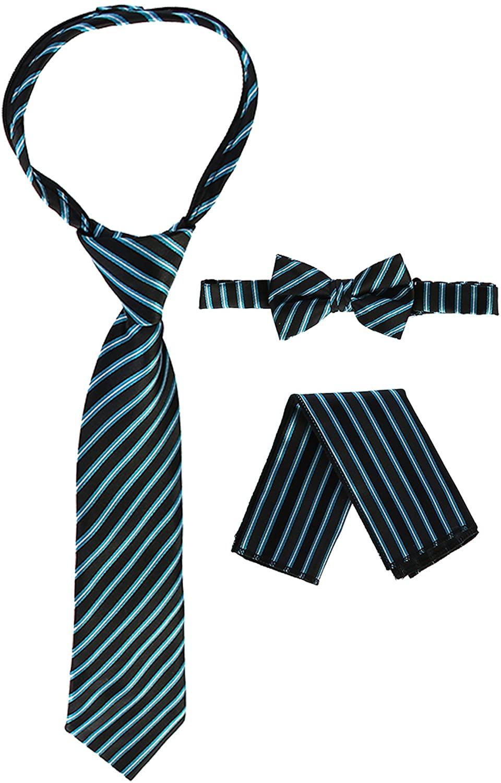 Gioberti Kids and Boys' Stripe Zipper Tie, Bow Tie and Handkerchief Set